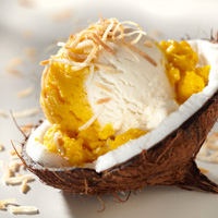 Mango Coconut Custard Ice Cream