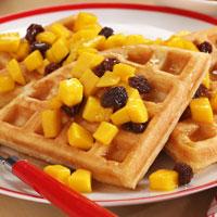 Mango Coconut Waffles