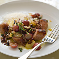 Polenta and Sausage with Grapes and Green Tomatoes
