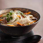 Wild Alaskan Sole with Shiitake Mushrooms and Crispy Vegetables in Miso Broth