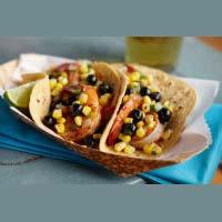 Spicy Shrimp Tacos with Blueberry Corn Cilantro Salsa