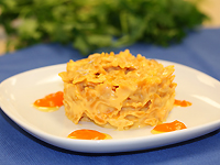 """Farfalle Veggie """"Mac and Cheese"""" with Carrot Puree"""