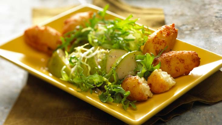 Cheese Fritters with Frisee and Pear