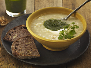 Yogurt Barley Soup with Walnut Pesto