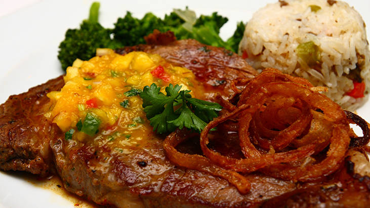 ribeye steak onions rice
