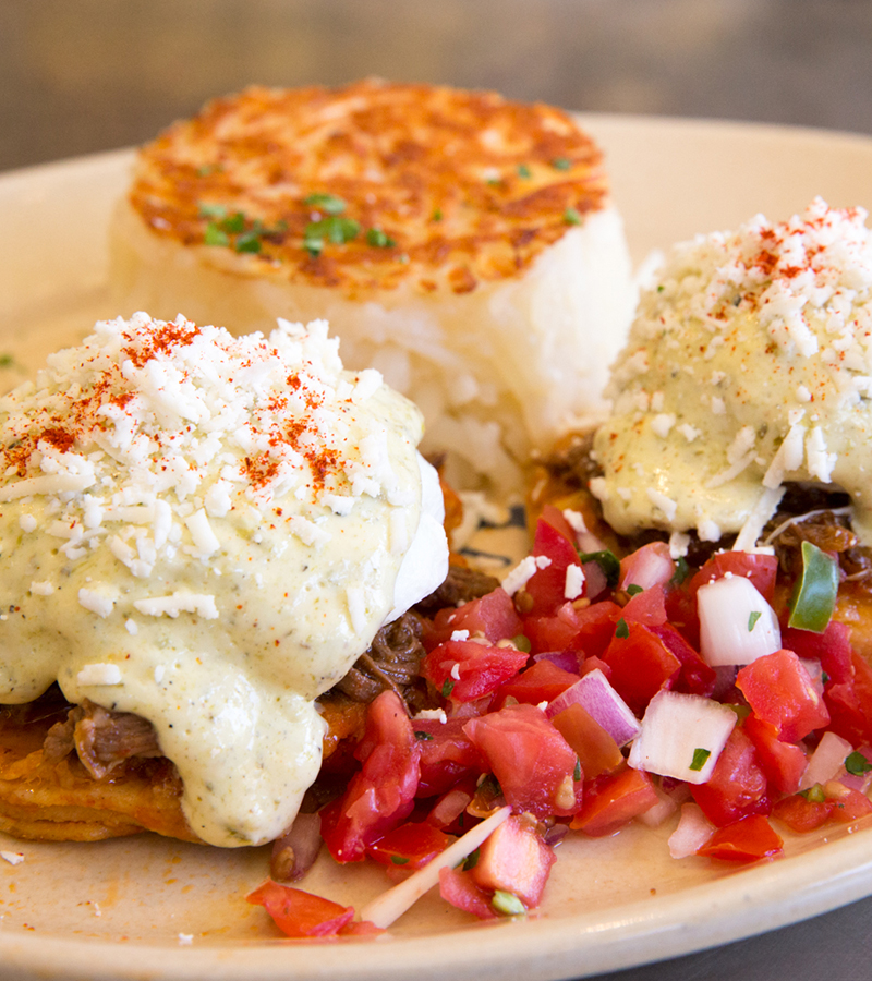 Snooze, an a.m. Eatery Chilaquiles Benedict