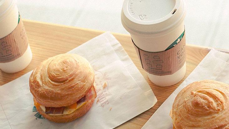 starbucks breakfast sandwich coffee