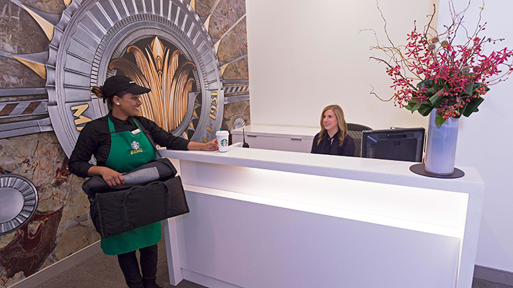 starbucks delivery woman