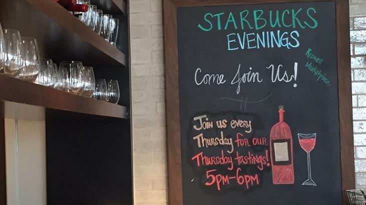 starbucks evenings wine