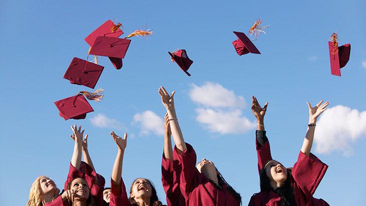 students graduation caps