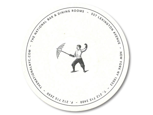 The National Bar and Dining Rooms drink coaster