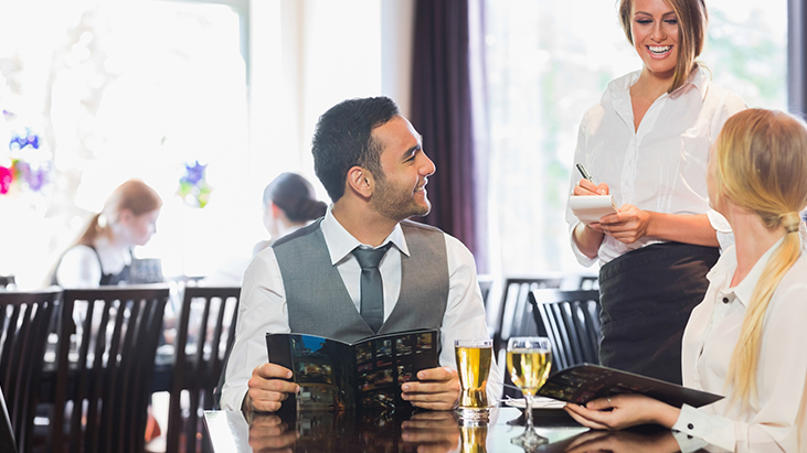 waiter taking order recommendation