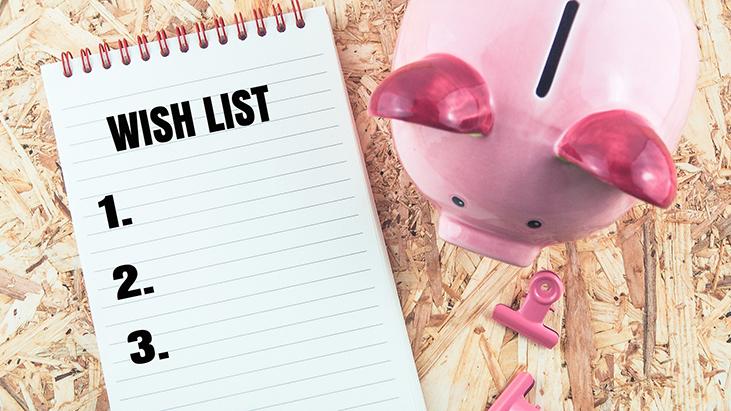 wish list piggy bank