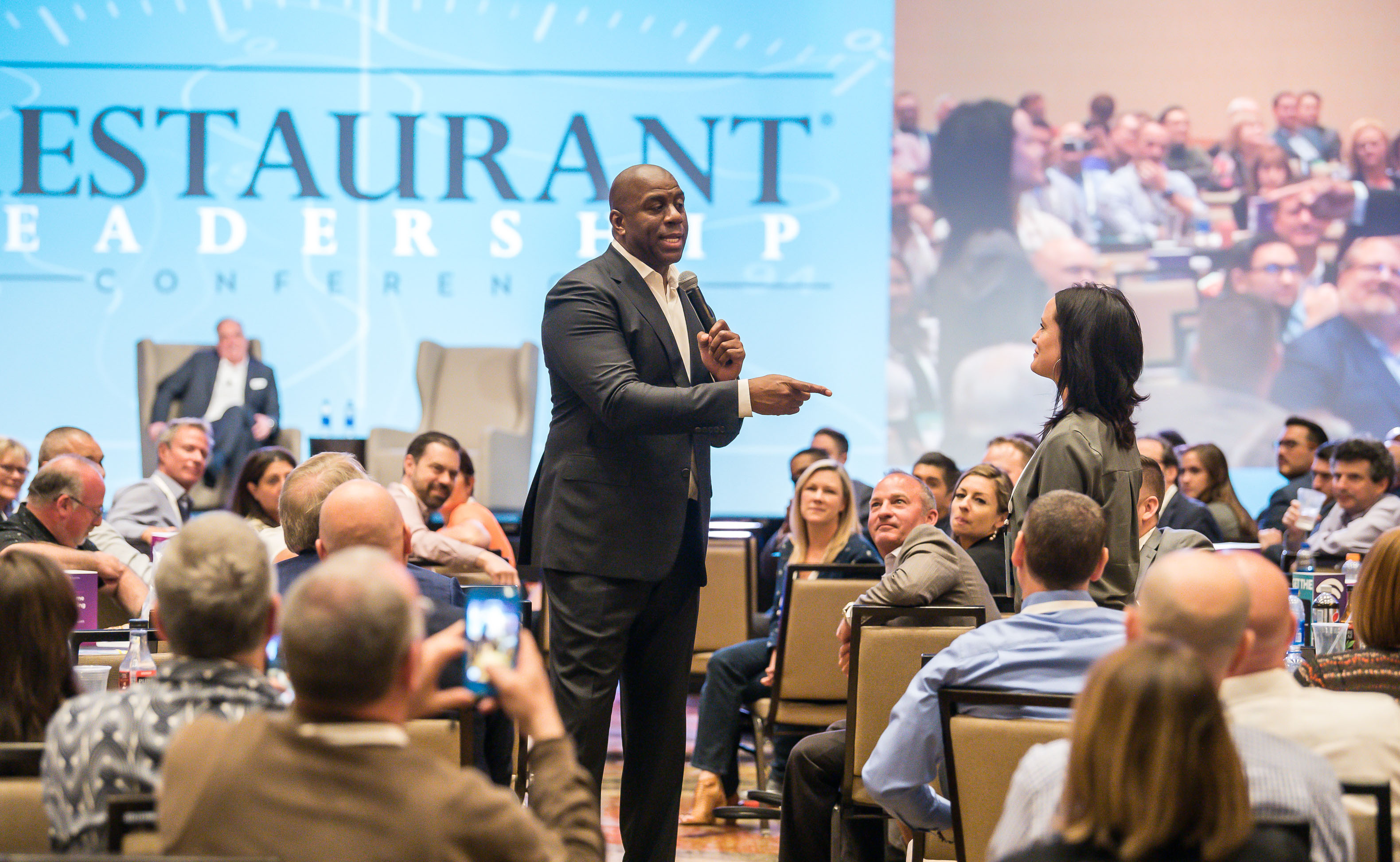 Magic Johnson speaks to restaurant executives at the Restaurant Leadership Conference.