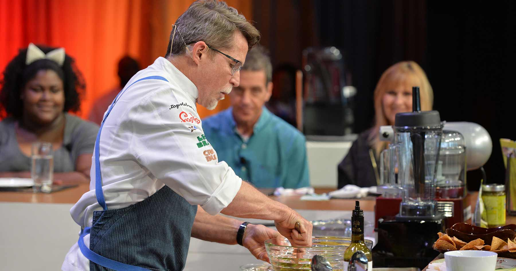 Rick Bayless hosts cooking demonstration at the National Restaurant Association Show.